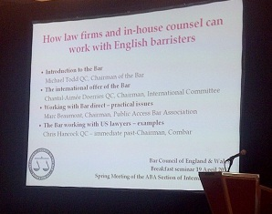 Screen shot of How law firms and in-house counsel can work with English barristers